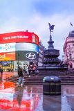 Piccadilly Circus is a famous London landmark and busy destination for tourists. LONDON, UK - JANUARY 12, 2017: Piccadilly Circus with the Shaftesbury Memorial royalty free stock images