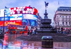 Piccadilly Circus is a famous London landmark and busy destination for tourists. LONDON, UK - JANUARY 12, 2017: Piccadilly Circus with the Shaftesbury Memorial stock image