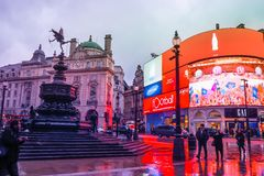 Piccadilly Circus is a famous London landmark and busy destination for tourists. LONDON, UK - JANUARY 12, 2017: Piccadilly Circus with the Shaftesbury Memorial royalty free stock image