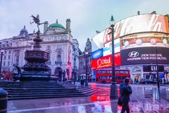 Piccadilly Circus is a famous London landmark and busy destination for tourists. LONDON, UK - JANUARY 12, 2017: Piccadilly Circus with the Shaftesbury Memorial stock photos
