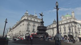 Piccadilly circus image with jam traffic crowded street and people walking stock footage