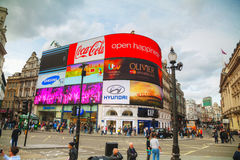 Piccadilly Circus junction crowded by people in London Stock Image