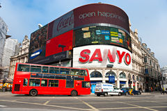 Piccadilly Circus, london. LONDON - MARCH 03 View of Piccadilly Circus on March 03, 2011 in London. Famous advertisements of TDK and Sanyo have been here for at Stock Photo