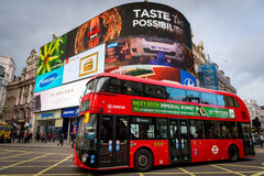 Piccadilly Circus with London Bus in Jan 2014 Stock Image