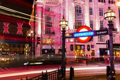 Piccadilly Circus in London, UK, at night Royalty Free Stock Photo