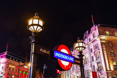 Piccadilly Circus in London, UK, at night Royalty Free Stock Image
