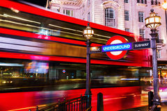 Piccadilly Circus in London, UK, at night Stock Photography