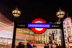 Piccadilly Circus in London, UK, at night Stock Images