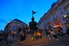 Piccadilly circus night time in London Royalty Free Stock Photos
