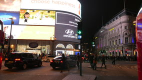 Piccadilly Circus Night Timelapse - The Curve. LONDON, 08 NOV 2015 - Night scene timelapse  of Piccadilly Circus in London, UK showing flowing traffic and stock video