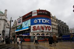 Piccadilly Circus at rainy day Stock Photography
