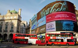 Piccadilly Circus red London buses Royalty Free Stock Image