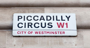 Piccadilly Circus road sign Stock Image