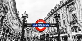Piccadilly Circus station underground tube street signage, London, England, UK royalty free stock images