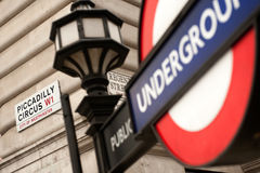 Piccadilly Circus street shield and undreground sign Royalty Free Stock Images