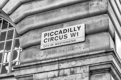 Piccadilly Circus street sign, London Royalty Free Stock Images