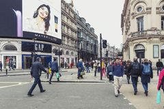 Piccadilly Circus, traffic junction and major shopping, entertainment area in West End, city of Westminster, London Stock Photos