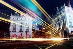 Piccadilly cirkus, London nattetid Arkivfoto