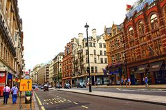 Piccadilly city of Westminster London United Kingdom. View of Piccadilly and Old Bond Street.Piccadilly is a road in the City of Westminster, London to the south Royalty Free Stock Image