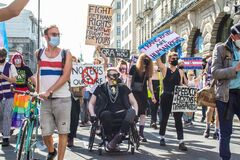 PICCADILLY, LONDON/ENGLAND- 12 September 2020: Protesters a Trans Pride 2020 in London