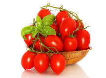 Piccadilly tomatoes. In wooden dish Stock Photography