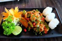 Piccante di color salmone crudo con il rotolo del riso la fusione da terra e da giapponese tailandesi Immagine Stock