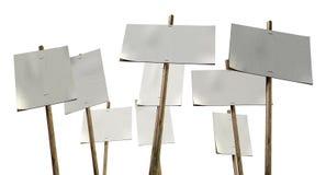 Picchetto in bianco Plackards dei percussori fotografie stock libere da diritti
