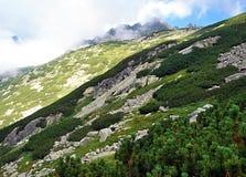 Picchi con le nuvole sopra il dolina di Zlomiskova in alte montagne di Tatras Fotografia Stock
