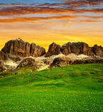 Picchi della dolomia, Sella Fotografie Stock Libere da Diritti