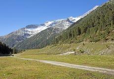 Picchi delle alpi austriache nella valle dello Zillertal Fotografie Stock