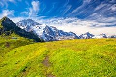 Picchi di Eiger, di Monch e di Jungfrau da Mannlichen in alpi svizzere Fotografia Stock