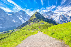 Picchi di Eiger, di Monch e di Jungfrau da Mannlichen in alpi svizzere Fotografia Stock Libera da Diritti