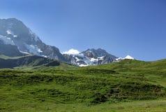 Picchi di Jungfrau e di Monch delle alpi svizzere sul modo a Kleine Scheidegg Immagine Stock