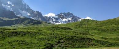 Picchi di Jungfrau e di Monch delle alpi svizzere sul modo a Kleine Scheidegg Fotografia Stock Libera da Diritti