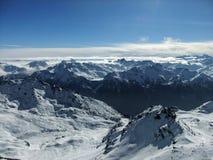 Picchi di montagna delle alpi francesi Immagini Stock Libere da Diritti