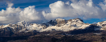 Picchi di montagna di Parias e di Piolit nell'inverno, alpi, Francia Fotografia Stock
