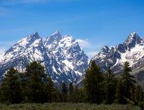 Picchi di montagna irregolari Snowcapped Immagine Stock