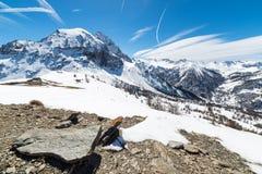 Picchi di montagna maestosi nelle alpi Fotografie Stock Libere da Diritti