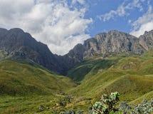 Picchi di montagna nelle nuvole immagine stock libera da diritti