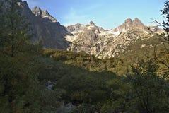 Picchi di montagna sopra il plesa di Dolina Zeleneho in alto Tatras Fotografie Stock