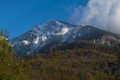 Picchi di montagne di Snowy il giorno soleggiato Fotografia Stock