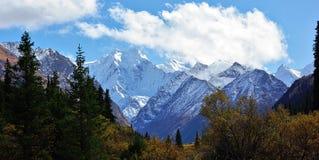 Picchi di Snowy del Kirghizistan fotografia stock libera da diritti