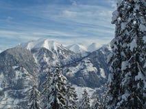 Picchi di Snowy delle alpi Immagini Stock Libere da Diritti