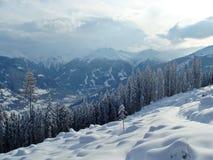 Picchi di Snowy delle alpi nelle nuvole Immagini Stock