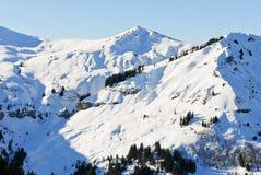 Picchi di Snowy delle montagne delle alpi, Francia Immagine Stock Libera da Diritti