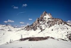 Picchi di Snowy di una montagna Immagine Stock