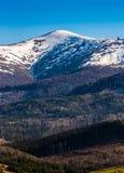 Picchi di Snowy sulla cima di mountai Fotografie Stock Libere da Diritti