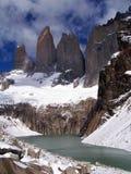 Picchi di Torres del Paine fotografia stock