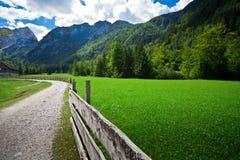 Picchi e pascolo di montagna sloveni grandangolari fotografia stock