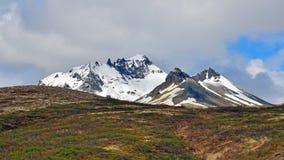 Picchi e suolo islandesi Fotografia Stock